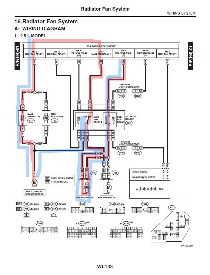 D Radiator Sub Fan Fan Switching on Subaru Legacy Starter Motor Location