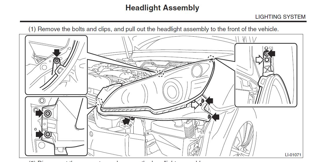 subaru outback headlight bulb replacement 2014