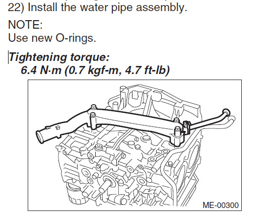 2010 2 5 coolant leak- water pipe o-ring