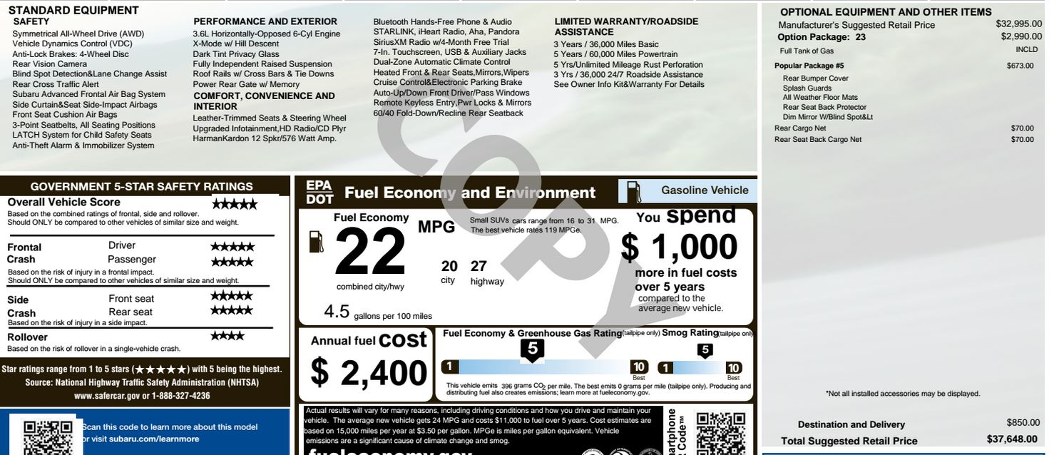 MSRPINVOICEPURCHASE PRICE Thread Page Subaru Outback - Subaru outback invoice price
