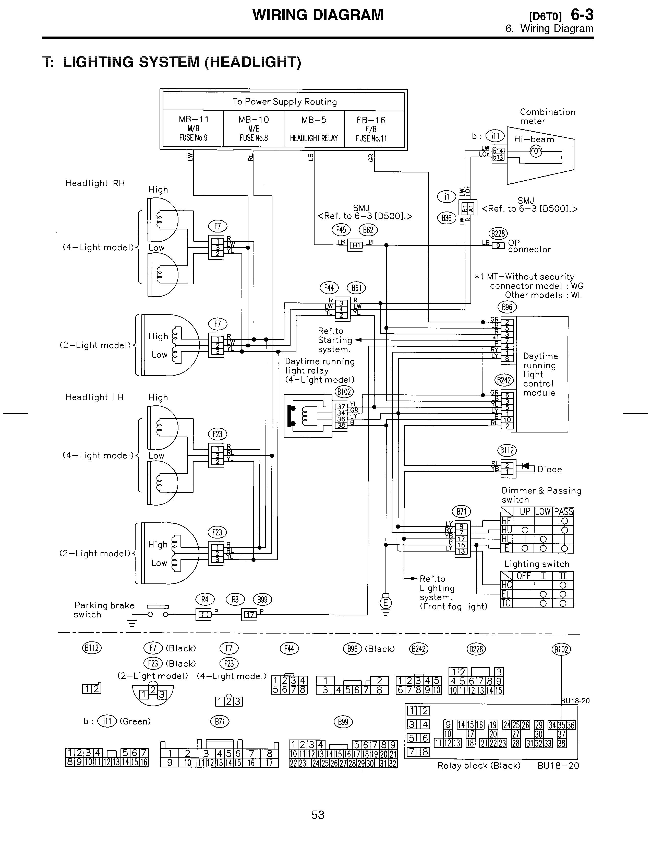 2010 Subaru Legacy Headlight Wiring Diagram Basic Schematic B4 1995 Engine