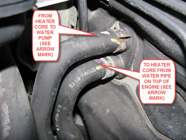 heater core inlet  outlet identification