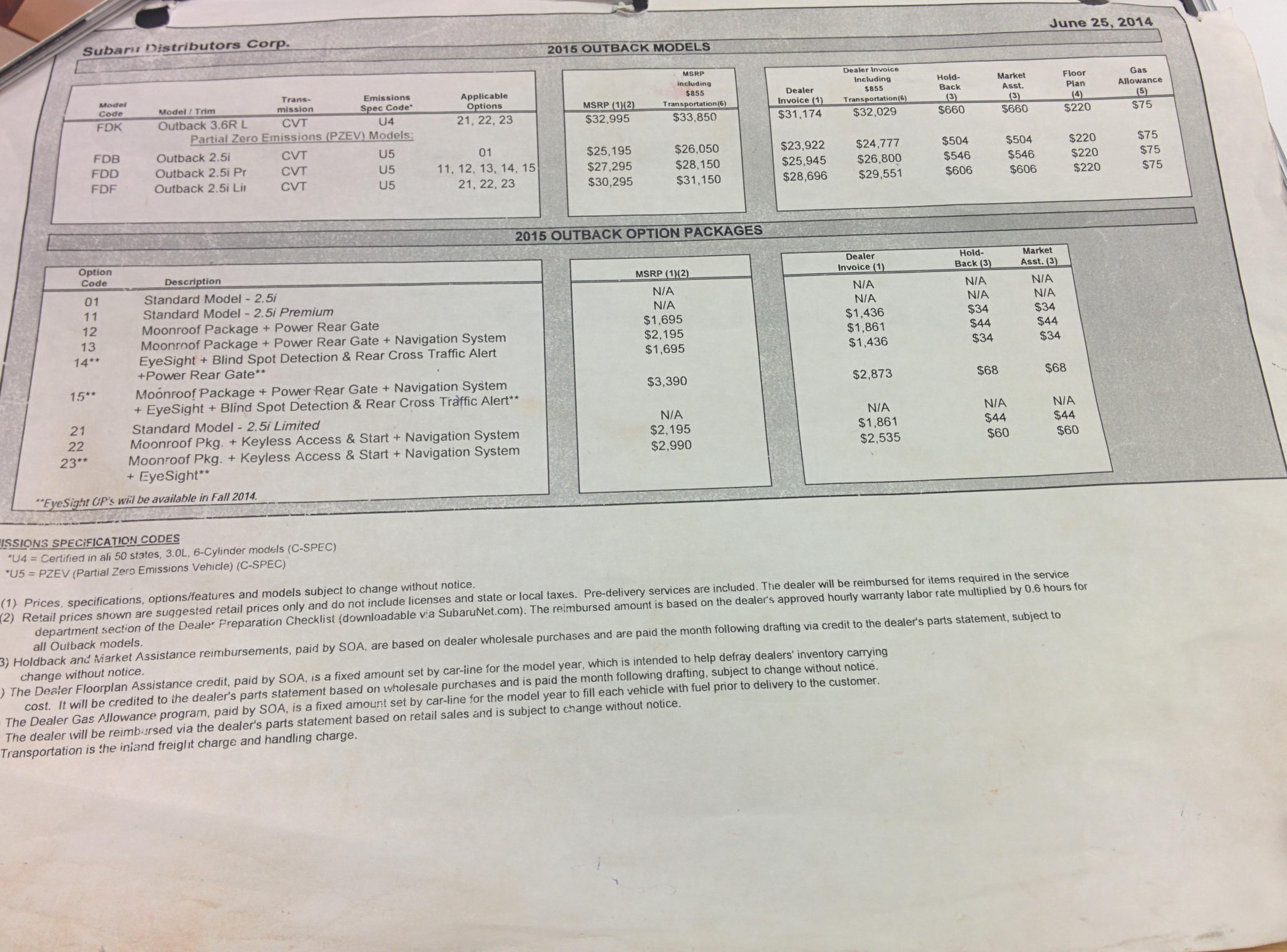 Attachments Subaru Outback Subaru Outback Forums - 2018 subaru legacy invoice price