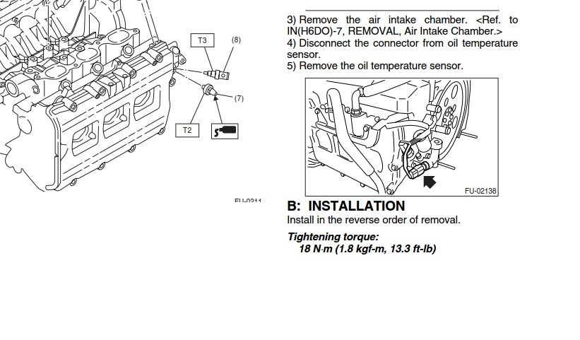 2009 subaru sensor locations
