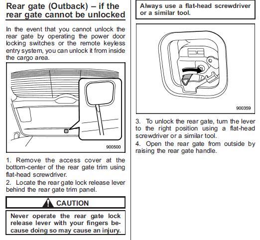 Open Rear Hatch From Inside Subaru Outback Subaru