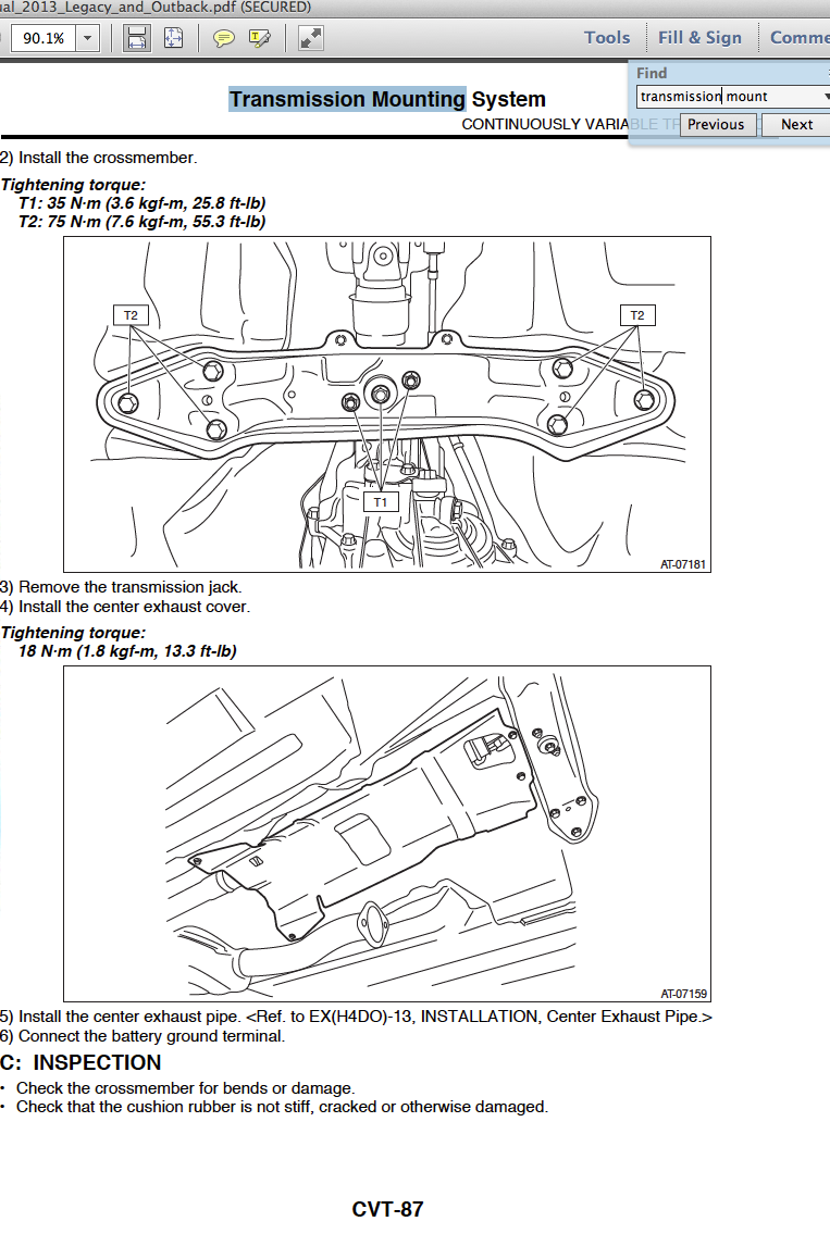 Motor And Trans Mount Torque Specs Subaru Outback Forums