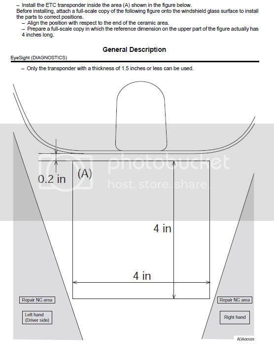 Optimal Placement of EZPass transponder w/Eyesight | Subaru