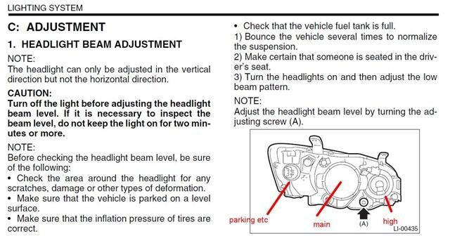 Headlight Adjustments Subaru Outback Forums