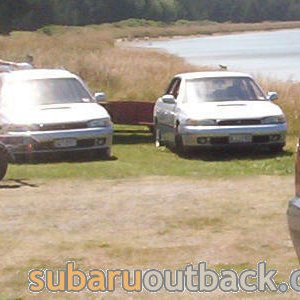 OB and Subarus at the river