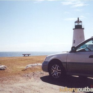 The scoob perched on the Maine Coast.